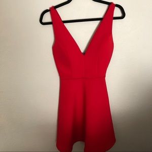 Hot Gal Red Deep V A-Line Event Dress